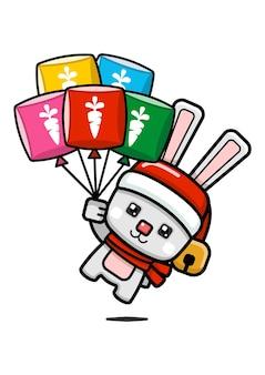 큐브 스타일 귀여운 크리스마스 토끼 들고 풍선