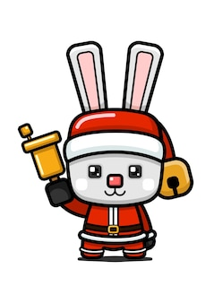 큐브 스타일 귀여운 크리스마스 토끼 들고 벨