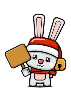 큐브 스타일 귀여운 크리스마스 토끼 지주 보드