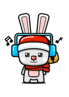 큐브 스타일 귀여운 크리스마스 토끼 입고 헤드폰