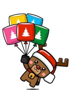 큐브 스타일 귀여운 크리스마스 순 록 들고 풍선