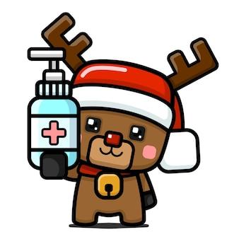 Симпатичные рождественские олени в кубическом стиле, держа дезинфицирующее средство для рук