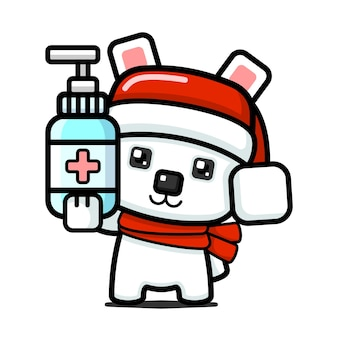 Милый белый медведь в кубическом стиле держит дезинфицирующее средство для рук
