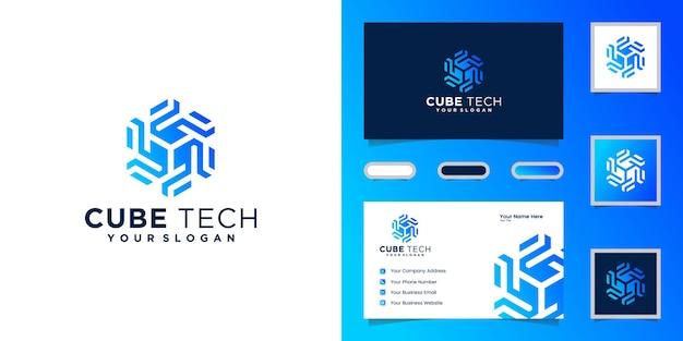 Логотип cube tech, шестиугольник и визитная карточка вдохновения