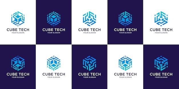 큐브 기술 로고 또는 육각형 기술 디자인 모음