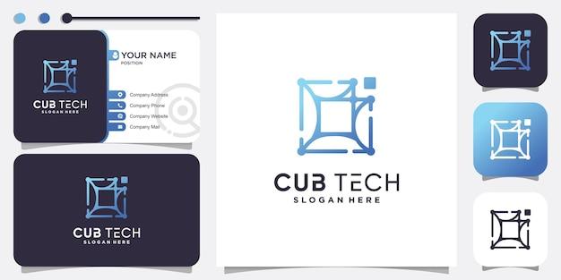 Cube tech logo with modern abstract concept premium vector