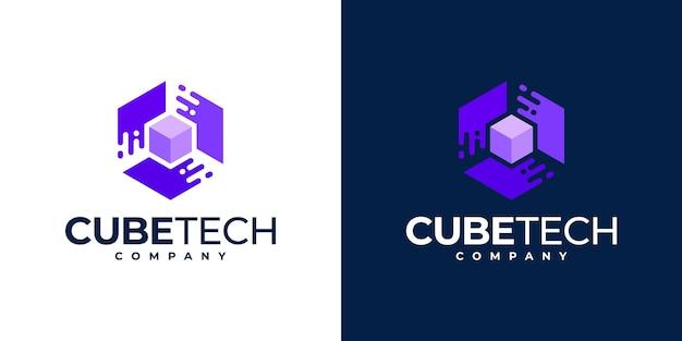 キューブテクノロジーのロゴデザインのインスピレーション、六角形のコンセプト