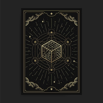Cube of universe, card illustration with esoteric, boho, spiritual, geometric, astrology, magic themes, for tarot reader card