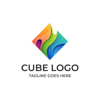 Cube water multicolored abstract template.