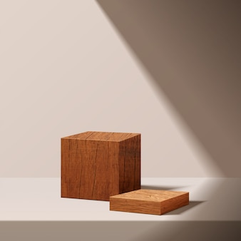 Подиум куба деревянный с светом солнца на белой предпосылке. пустая платформа пьедестала для награды, презентации продукта, макета фона, подиума, пьедестала сцены или платформы с подсветкой. вектор