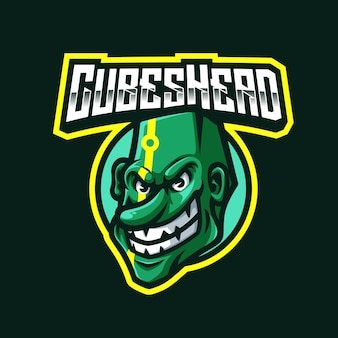 Cubes head mascot logo for gaming twitch streamer gaming esports youtube facebook