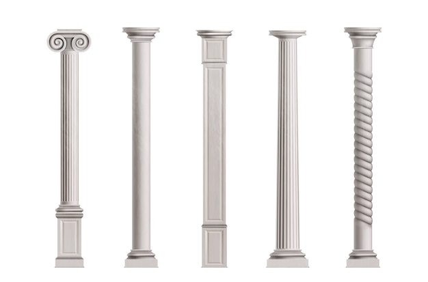 Cubic and cylindrical columns of white marble stone with smooth and textured surface