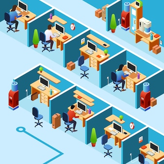 Cubicle office plan, coworking with working clerks, employees on their workplaces.