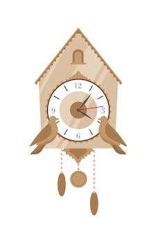 鳩時計フラットベクトルイラスト。白い背景で隔離の2つの装飾的な鳥とビンテージ時間測定デバイス。昔ながらの時計機構。クラシックなインテリアデザイン要素。