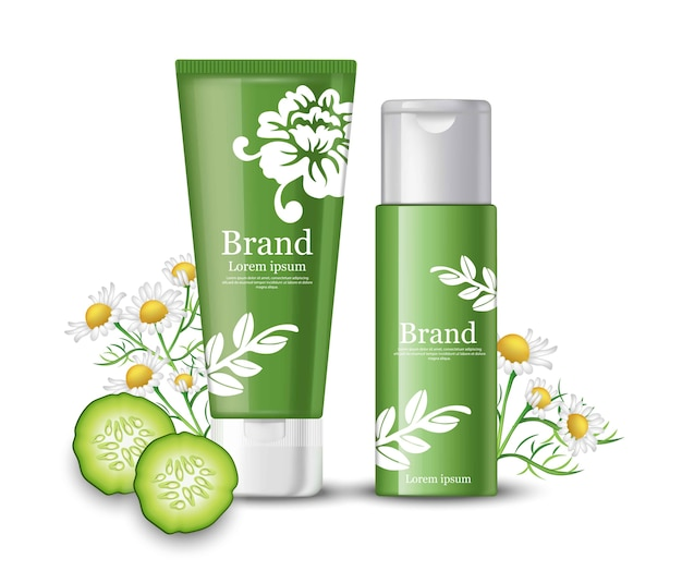 Cucumber and chamomile cosmetics mock up packaging. brand label design