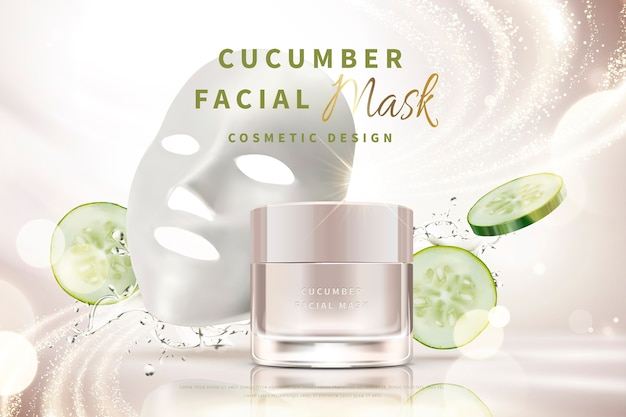 Cucumber facial mask cream jar with splashing water and ingredients