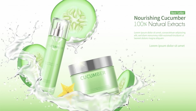 Cucumber facial mask with splashing water.