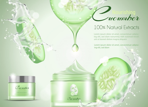 Cucumber facial mask with splashing water.