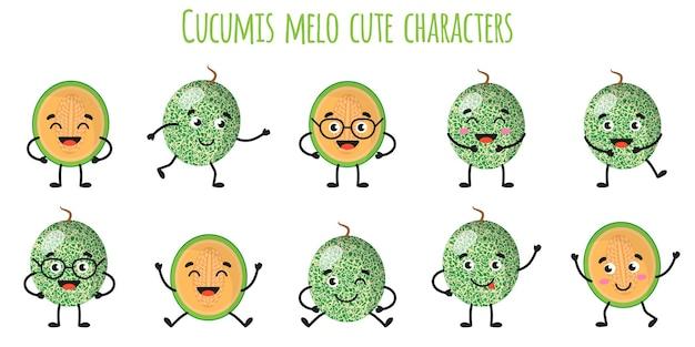 쿠쿠 미스 멜로 과일 다른 포즈와 감정을 가진 귀여운 재미 쾌활한 캐릭터. 천연 비타민 항산화 해독 식품 수집. 만화 격리 된 그림입니다.