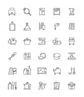 Cuisine, kitchen tools and appliances line icons.