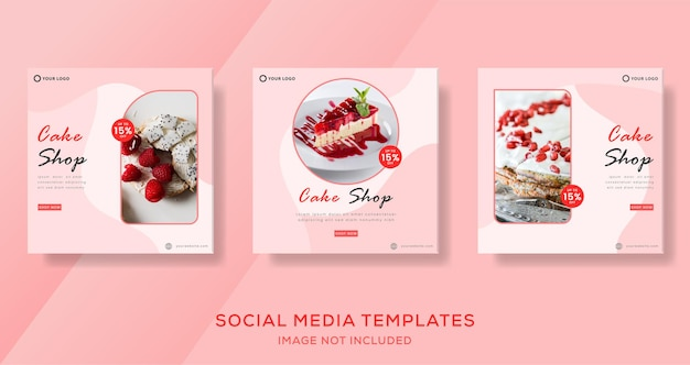 Culinary cake banner for social media template post premium
