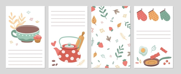 Culinary cards. kitchen recipe notebook pages, notes paper template. tools cutlery and food, tea. cafe restaurant or home grocery store check lists vector illustration. recipe cooking and culinary
