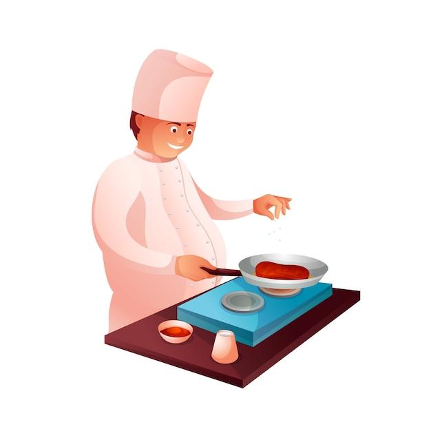 キッチンキャラクターの料理人。夕食の準備プロセス。フライパンのクリップアートで焼き肉を調理します。プロの制服を着たレストラン、カフェ、カフェテリアのスタッフ。ステーキを揚げる男