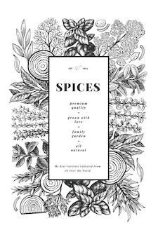 料理用ハーブバナーテンプレート。手描きのヴィンテージ植物画。刻まれたスタイル。