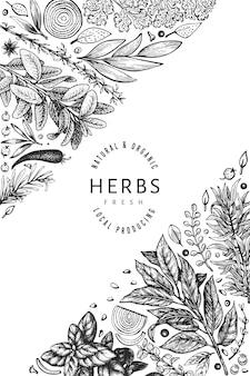 요리 허브 배너 템플릿입니다. 손으로 그린 빈티지 식물 그림.