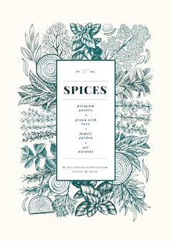 Culinary herbs and spices menu frame template