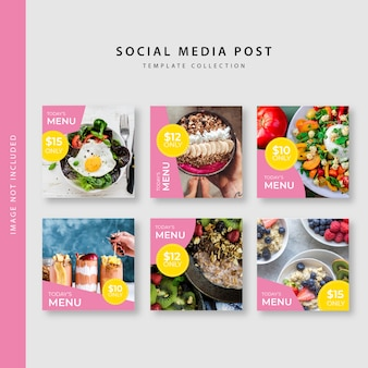 Culinary instagram post template collection
