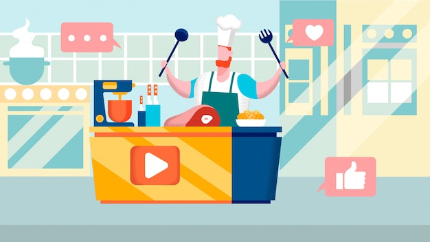 Culinary internet channel flat vector illustration