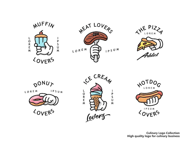 Culinary logo set for business muffin steak pizza doughnut ice cream and hotdog