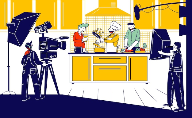 Culinary program illustration, show or blog broadcasting.