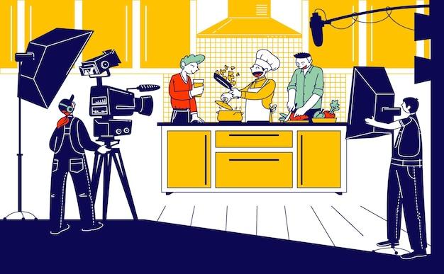 Иллюстрация кулинарной программы, трансляция шоу или блога.