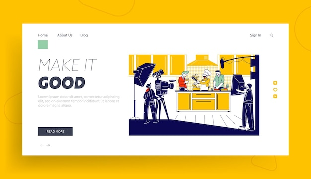 Culinary program, show or blog broadcasting landing page template.