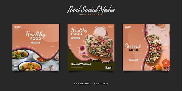 레스토랑 홍보를위한 요리 소셜 미디어 게시물 템플릿. 음식 메뉴 소셜 미디어 게시물 템플릿