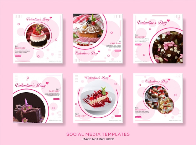 Cullinary valentine's day post template collection vector