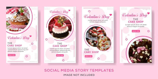 Cullinary valentine's day story template collection vector