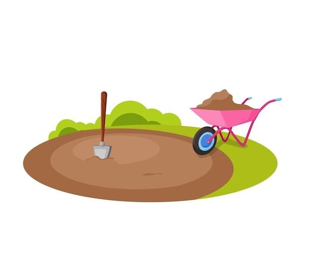 Обработка и удобрение земли. сельская местность. векторная иллюстрация