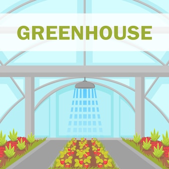 Cultivation house irrigation system vector poster