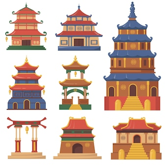 Cultural china traditional buildings flat set for web design. cartoon illustration