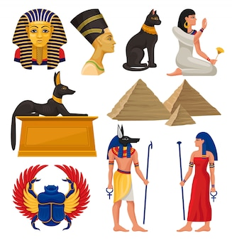 Cultural elements of ancient egypt. pharaoh and queen, sacred animals, egyptian pyramids and people.   set