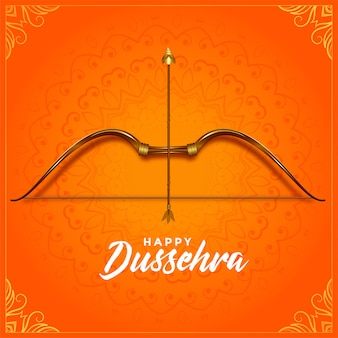 Cultural happy dussehra bow and arrow festival greeting card