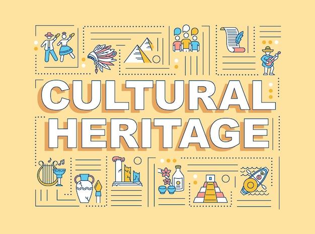 문화 유산 단어 개념 배너입니다. 역사적 유물, 관습 전통. 오렌지 배경에 선형 아이콘으로 인포 그래픽입니다. 고립 된 인쇄 술입니다. 벡터 개요 rgb 컬러 일러스트