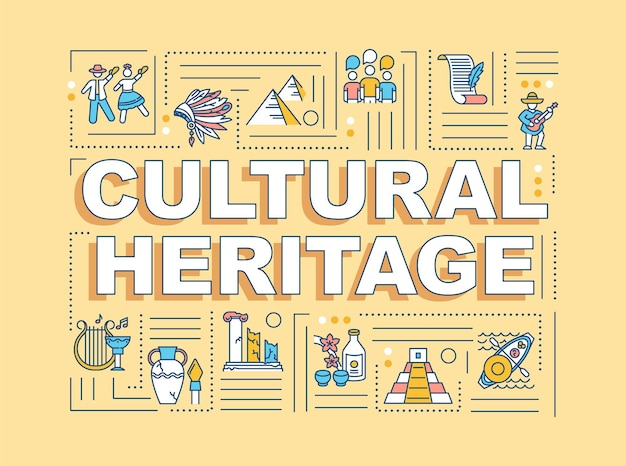 Cultural heritage word concepts banner. historical artifact, custom tradition. infographics with linear icons on orange background. isolated typography. vector outline rgb color illustration