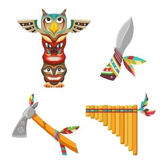 文化的なインドのシンボルまたはインド人の部族のオブジェクト。フクロウのトーテム、ナイフ、エスニックフルート、トマホークまたは手斧のベクトルアイコンセット。フラットなデザイン