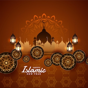 文化的なムハッラムフェスティバルとイスラムの新年の背景ベクトル