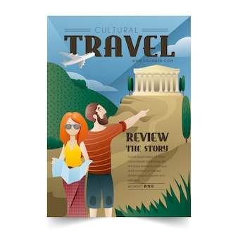 Cultural travelling poster template