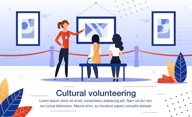 博物館での文化ボランティアフラットベクトルポスター